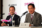 November 18, 2016, Tokyo, Japan - European aircraft giant Airbus CEO Fabris Bregier and Japan's budget airline Peach Aviation CEO Shinichi Inoue announce Peach will buy 13 aircrafts of Airbus A320 at a press conference in Tokyo on Friday, November 18, 2016. Peach will purchase 3 A320 ceo aircrafts in 2018 and will receive the first A320 neo in 2019 from the Airbus.   (Photo by Yoshio Tsunoda/AFLO) LWX -ytd-