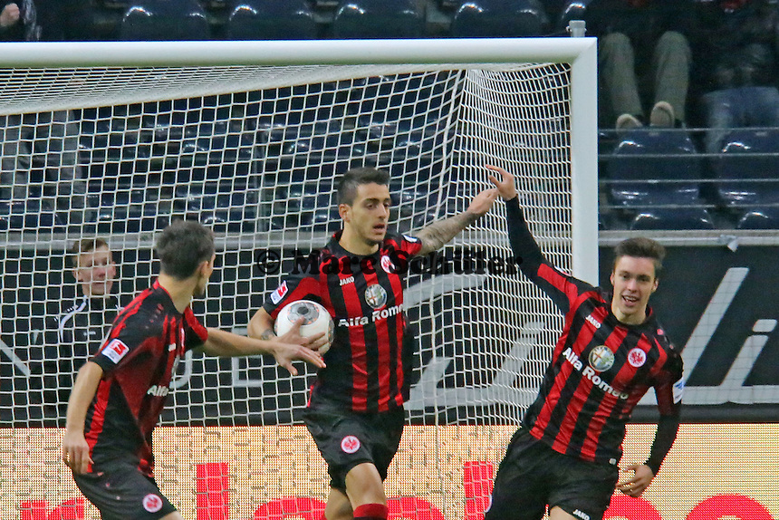 Joselu (Eintracht) erzielt das 1:1 und jubelt - Eintracht Frankfurt vs. TSG 1899 Hoffenheim, Commerzbank Arena