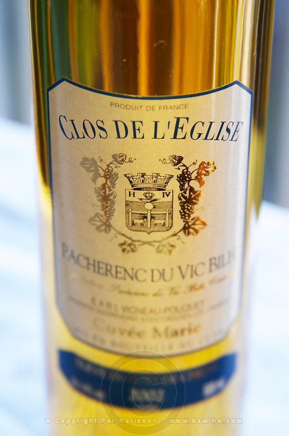 Bottle of Clos de l'Eglise Pacherenc du Vic Bilh Cuvee Marie Vigneau Pouquet Madiran France