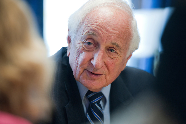 UNITED STATES - OCTOBER 11:  Rep. Sander Levin, D-Mich., holds a briefing in Longworth Building on China currency and the millionaire surtax.  (Photo By Tom Williams/Roll Call)