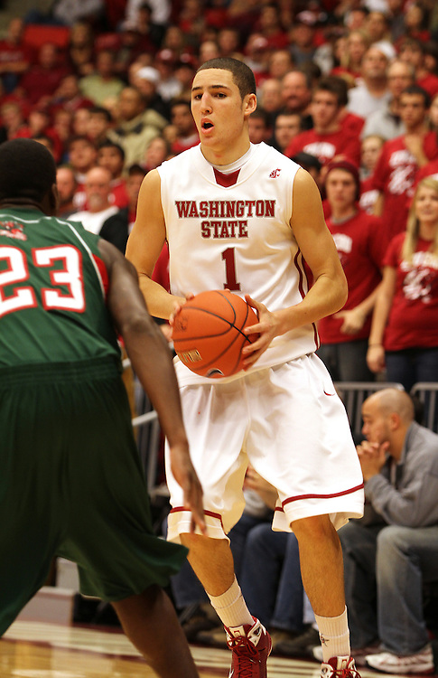 Klay Thompson, Washington State guard, looks for an opening to drive to the basket during the Cougars non-conference match-up with Mississippi Valley State at Friel Court at Beasley Coliseum in Pullman, Washington, on November 13, 2009.  Thompson and Washington State won the game in convincing fashion, 76-25.