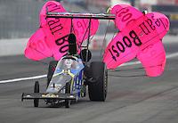 Feb 10, 2017; Pomona, CA, USA; NHRA top alcohol dragster driver Ashley Sanford during qualifying for the Winternationals at Auto Club Raceway at Pomona. Mandatory Credit: Mark J. Rebilas-USA TODAY Sports