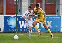 FC GULLEGEM - SV BORNEM :<br /> fel duel tussen Mehdi Oumedjeber (L) en Kabba-Modou Cham (R)<br /> <br /> Foto VDB / Bart Vandenbroucke