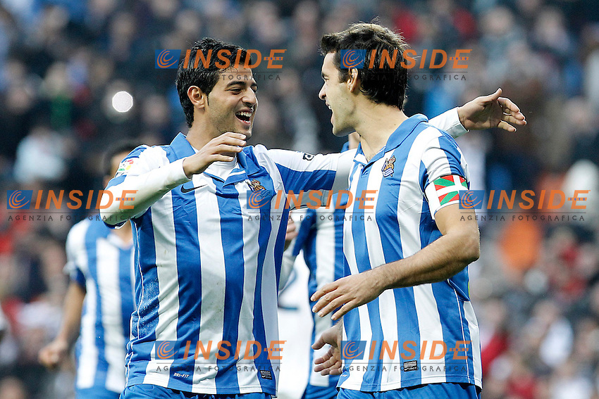 Real Sociedad's Xabi Prieto (r) and Carlos Vela celebrate goal during La Liga match.January 06,2013. (ALTERPHOTOS/Acero) .Madrid 6/1/2013 Stadio Santiago Bernabeu .Football Calcio 2012/2013.La Liga Spagna Real Madrid Vs Real Sociedad .Foto Alterphotos / Insidefoto .ITALY ONLY