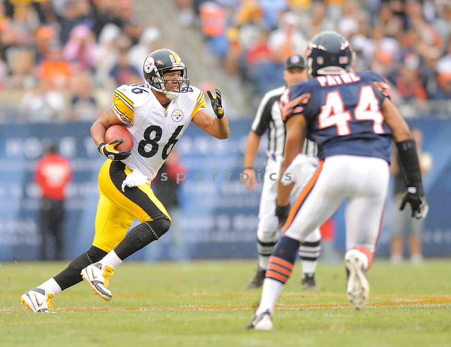 HINES WARD,of the Pittsburgh Steelers , in action during the Steelers  game against the Chicago Bears on September 20, 2009 in Chicago, IL.  The Bears beat the Steelers 14-7.