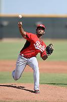 Cincinnati Reds pitcher Jose Guzman (45) during an Instructional League game against the Texas Rangers on October 7, 2013 at Goodyear Training Complex in Goodyear, Arizona.  (Mike Janes/Four Seam Images)