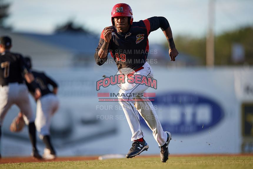 Batavia Muckdogs left fielder Thomas Jones (29) running the bases during a game against the West Virginia Black Bears on August 5, 2017 at Dwyer Stadium in Batavia, New York.  Batavia defeated West Virginia 3-2.  (Mike Janes/Four Seam Images)