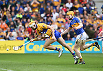 Aaron Cunningham of Clare scores the second of his two goals during their Senior quarter final against Tipperary at Pairc Ui Chaoimh. Photograph by John Kelly.