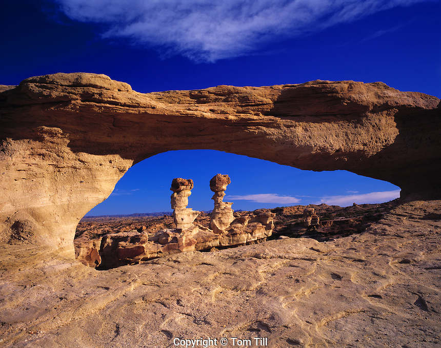 "Natural arch framing pinnacles   Ischigualasto Provincial park, Argentina    Vallley of the Moon   San Juan Province    ""El Submarino"" fromations"
