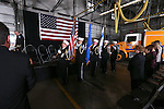 The Carson City Fire Department Honor Guard presents the colors at Chief Bob Schreihans' badge-pinning ceremony at Station 51 in Carson City, Nev., on Tuesday, Feb. 3, 2015. <br /> Photo by Cathleen Allison