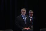 Australia's Treasurer Joe Hockey at the B20 Summit in the IMC during the G20 Leaders' Summit in Brisbane. <br /> Photograph by Steve Christo/G20 Australia
