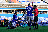 4th January 2020; St Andrews, Birmingham, Midlands, England; English FA Cup Football, Birmingham City versus Blackburn Rovers; Ivan Sunjic of Birmingham City is given a red card for a foul in the box in the 60th minute - Strictly Editorial Use Only. No use with unauthorized audio, video, data, fixture lists, club/league logos or 'live' services. Online in-match use limited to 120 images, no video emulation. No use in betting, games or single club/league/player publications