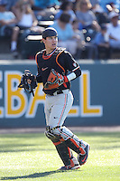 K.J. Harrison (24) of the Oregon State Beavers in the field during a game against the UCLA Bruins at Jackie Robinson Stadium on April 4, 2015 in Los Angeles, California. UCLA defeated Oregon State, 10-5. (Larry Goren/Four Seam Images)