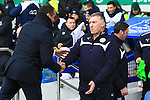 Manager of Everton, Roberto Martinez greets Leicester's manager, Nigel Pearson - Everton vs. Leicester City - Barclay's Premier League - Goodison Park - Liverpool - 22/02/2015 Pic Philip Oldham/Sportimage