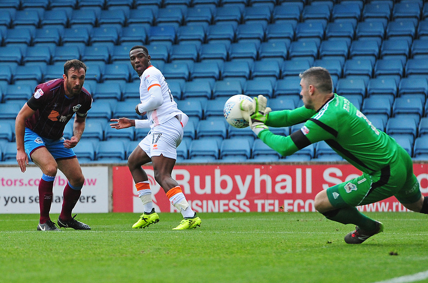 Blackpool's Viv Solomon-Otabor sees his shot at goal saves by Scunthorpe United's Matthew Gilks<br /> <br /> Photographer Chris Vaughan/CameraSport<br /> <br /> The EFL Sky Bet League One - Scunthorpe United v Blackpool - Saturday 9th September 2017 - Glanford Park - Scunthorpe<br /> <br /> World Copyright &copy; 2017 CameraSport. All rights reserved. 43 Linden Ave. Countesthorpe. Leicester. England. LE8 5PG - Tel: +44 (0) 116 277 4147 - admin@camerasport.com - www.camerasport.com