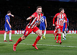Saul Niguez of Atletico Madrid celebrates scoring the first goal during the Champions League Group C match at the Stamford Bridge, London. Picture date: December 5th 2017. Picture credit should read: David Klein/Sportimage