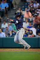 Binghamton Rumble Ponies Luis Carpio (21) at bat during an Eastern League game against the Richmond Flying Squirrels on May 29, 2019 at The Diamond in Richmond, Virginia.  Binghamton defeated Richmond 9-5 in ten innings.  (Mike Janes/Four Seam Images)