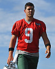 Bryce Petty #9 of the New York Jets gets ready to speak with the media after the first team practice of training camp at the Atlantic Health Jets Training Center in Florham Park, NJ on Saturday, July 29, 2017.