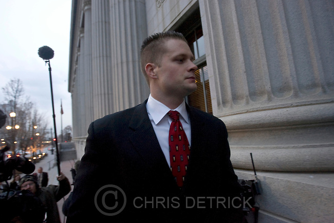 Former Blackwater Worldwide security guard Evan Liberty arrives at the U.S. District Court before surrendering to authorities in Salt Lake City, Utah December 8, 2008. The five former guards were indicted for their roles in a 2007 shooting in Baghdad that claimed the lives of 17 Iraqi civilians. .REUTERS/Chris Detrick (UNITED STATES).