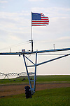 American flag, Farm, wheat field, Irrigation system, Columbia Basin, Eastern Washington State, U.S.A.,