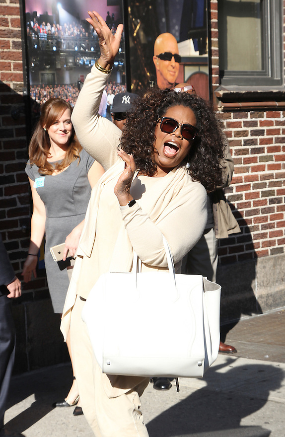 Oprah Winfrey is seen arriving to the Late Show with David Letterman on Thursday, May 14, 2015 in New York. (AP/Photo Donald Traill)