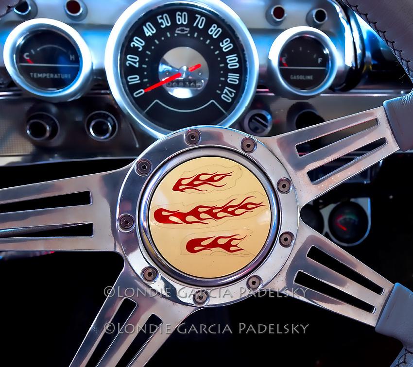 Classic Car Steering Wheel Gauges Photo | Londie Garcia