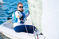 Skipper Allison Deluca,'21, works the sail as the Salve Regina Sailing Team practices in the Newport Harbor.