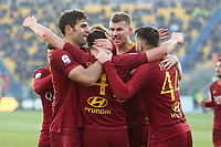 Brian Cristante of AS Roma (2L) celebrates with team mates after scoring first goal for his side during the Serie A 2018/2019 football match between Parma and AS Roma at stadio Ennio Tardini, Parma, December, 29, 2018 <br /> Foto Gino Mancini / Insidefoto