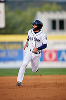 Binghamton Rumble Ponies shortstop Levi Michael (3) runs the bases during a game against the Erie SeaWolves on May 14, 2018 at NYSEG Stadium in Binghamton, New York.  Binghamton defeated Erie 6-5.  (Mike Janes/Four Seam Images)