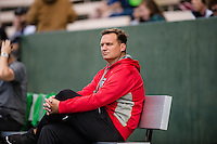 Seattle, WA - Sunday, May 22, 2016: Chicago Red Stars head coach Rory Dames watches his team during a regular season National Women's Soccer League (NWSL) match at Memorial Stadium.