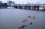 AWFP9A Canoeing on the River Thames Blackfriars Bridge, central London, England