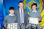 Tadhg Scanlon, Robert Flaherty (Deputy Principal) and Ruairi Healy CBS students collecting CBS Academic Achievements awards at their awards evening in Rose Hotel on Thursday night.