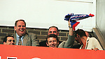 andy goram in the Ibrox stands celebrating rangers league championship 1998-99