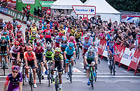 red jersey (overall leader) Primoz Roglic (SVK/Jumbo-Visma) celebrates his first ever Grand Tour win with his teammates while crossing teh finish line in Madrid<br /> <br /> Stage 21: Fuenlabrada to Madrid (107km)<br /> La Vuelta 2019<br /> <br /> ©kramon