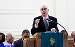 WATERBURY, CT-012119JS03-Rabbi Eric Polokoff of B'nai Israel of Southbury, offers his greetings during the annual Rev. Martin Luther King Day Service held Monday at Grace Baptist Church in Waterbury. During the event, which was hosted by the Waterbury Fellowship of Christian Churches, former Waterbury Police Chief Vernon L. Riddick, Jr.,  was honored with the MLK Achievement Award. <br /> Jim Shannon Republican American