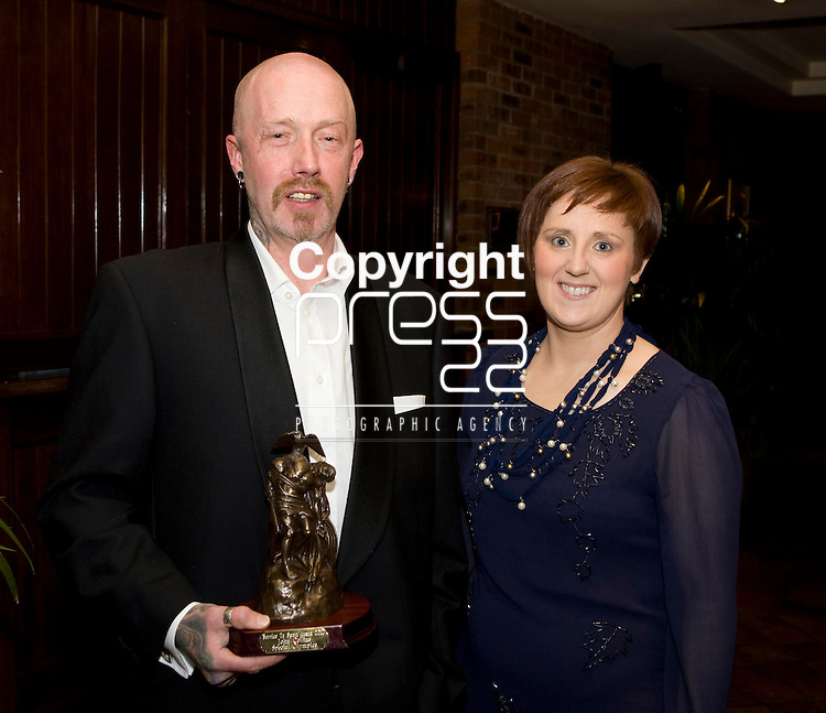 28/1/2011.<br /> Attending the dinner to honour Limerick people with a Limerick Service to Sports Award were John Collins, Special Olympics Soccer from Cappamore and ```aoife Greaney, Treasurer, Special Olympics Soccer.<br /> Picture: Liam Burke/Press 22