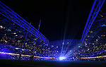 Light show in the Millennium Stadium - RBS 6Nations 2015 - Wales  vs England - Millennium Stadium - Cardiff - Wales - 6th February 2015 - Picture Simon Bellis/Sportimage