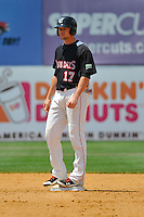 Brandon Waring (17) of the New Britain Rock Cats stands on second base during a game against the Altoona Curve at New Britain Stadium on June 25, 2014 in New Britain, Connecticut.  New Britain defeated Altoona 3-1.  (Gregory Vasil/Four Seam Images)