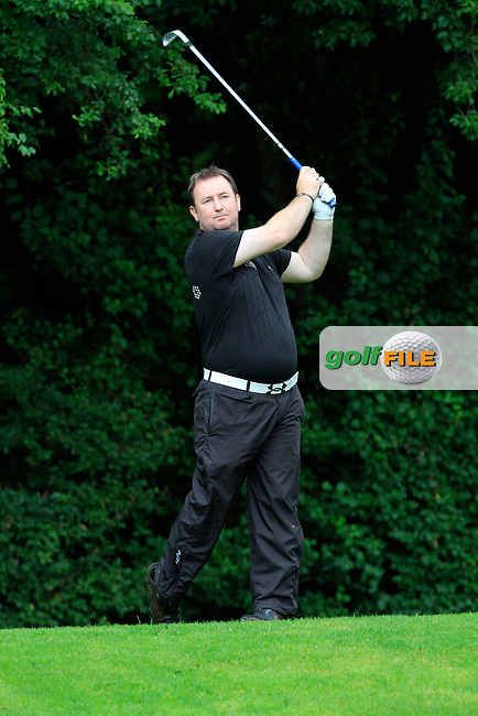 Edward Higgins (Newlands) on the 8th tee during round 2 of the Leinster Mid Amateur Open Championship in Grange Golf Club on Friday 8th August 2014.<br /> Picture:  Thos Caffrey / www.golffile.ie
