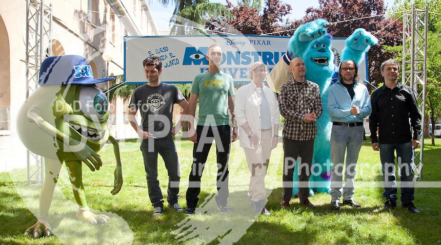 "13/06/2013 Doctors College, Madrid, Spain, Phtocall the Film ""Monsters University""  ""Monstruos University"" Disney Pixar, in the photo Santiago Segura, Jose Mota, Jose Ramos, Juan Carlos Navarro, Kori Rae and Dan Scanlon (C) Nacho Lopez/ DyD Fotografos"