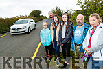 Residents at Currachmore West, who are warning motorists to slow down after a number of cars went off the road in the area, from left: Keelin Griffin, Kevin, Niamh and Megan Quirke, Eamon Fleming and Gins Griffin.