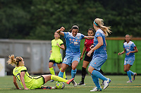 Seattle, WA - Sunday, May 22, 2016: Chicago Red Stars midfielder Vanessa DiBernardo (10) attempts to keep possession as Seattle Reign FC midfielder Beverly Yanez (17) attempts a tackle during a regular season National Women's Soccer League (NWSL) match at Memorial Stadium. Chicago Red Stars won 2-1.