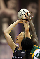 31.08.2016 Silver Ferns Bailey Mes and South Africa's Phumza Maweni in action during the Netball Quad Series match between the Silver Ferns and South Africa played at Claudelands Arena in Hamilton. Mandatory Photo Credit ©Michael Bradley.