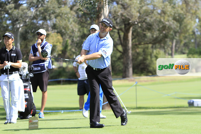 Greg Chalmers (AUS) on the 2nd tee during Round 1 of the ISPS HANDA Perth International at the Lake Karrinyup Country Club on Thursday 23rd October 2014.<br /> Picture:  Thos Caffrey / www.golffile.ie