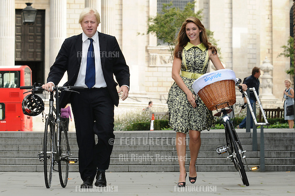 Mayor Boris Johnson and actress, Kelly Brook.launch the Mayor of London's Skyride, St Paul's Cathedral, London. 08/09/09. Picture by: Steve Vas / Featureflash