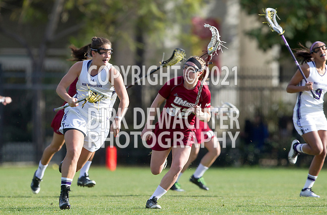 Los Angeles, CA 02/08/13 - Alyssa Leonard  (Northwestern #2) and Kelsey Sheridan  (Umass #32) in action during the Northwestern vs UMass NCAA Women's Lacrosse game at USC's McAlister Field.