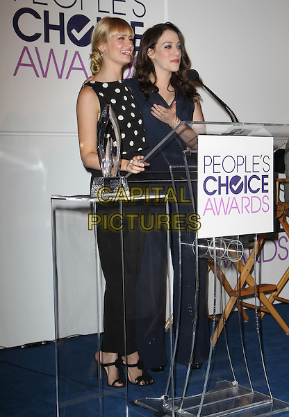 5 November 2013 - Beverly Hills, California - Beth Behrs, Kat Dennings. People's Choice Awards 2014 Nominations Press Conference Held at The Paley Center for Media<br /> CAP/ADM/KB<br /> &copy;Kevan Brooks/AdMedia/Capital Pictures