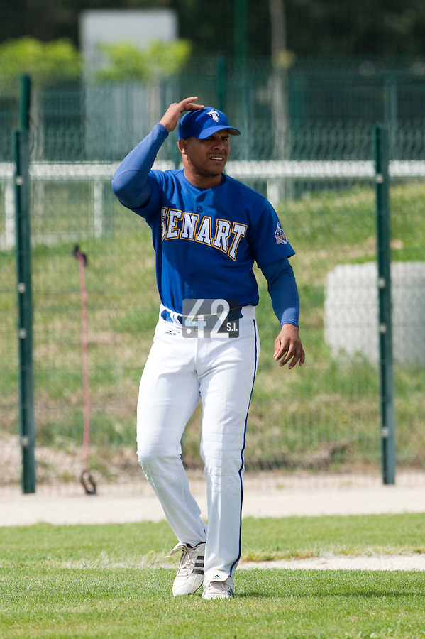 22 May 2009: Ernesto Martinez of Senart is seen coaching during the 2009 challenge de France, a tournament with the best French baseball teams - all eight elite league clubs - to determine a spot in the European Cup next year, at Montpellier, France. Senart wins 7-1 over Montpellier.