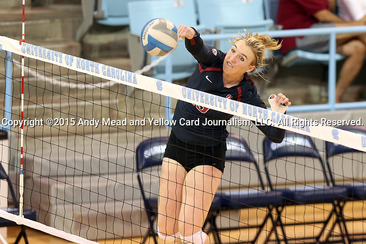 10 September 2015: Stanford's Alexis Froistad. The University of North Carolina Tar Heels hosted the Stanford University Cardinal at Carmichael Arena in Chapel Hill, NC in a 2015 NCAA Division I Women's Volleyball contest. North Carolina won the match 25-17, 27-25, 25-22.