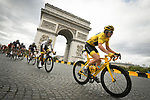 Race leader Yellow Jersey Geraint Thomas (WAL) Team Sky rounds the Arc de Triomphe during Stage 21 of the 2018 Tour de France running 116km from Houilles to Paris Champs-Elysees, France. 29th July 2018. <br /> Picture: ASO/Bruno Bade | Cyclefile<br /> All photos usage must carry mandatory copyright credit (&copy; Cyclefile | ASO/Bruno Bade)